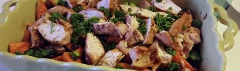 Rostad sötpotatis med bönsallad o kyckling